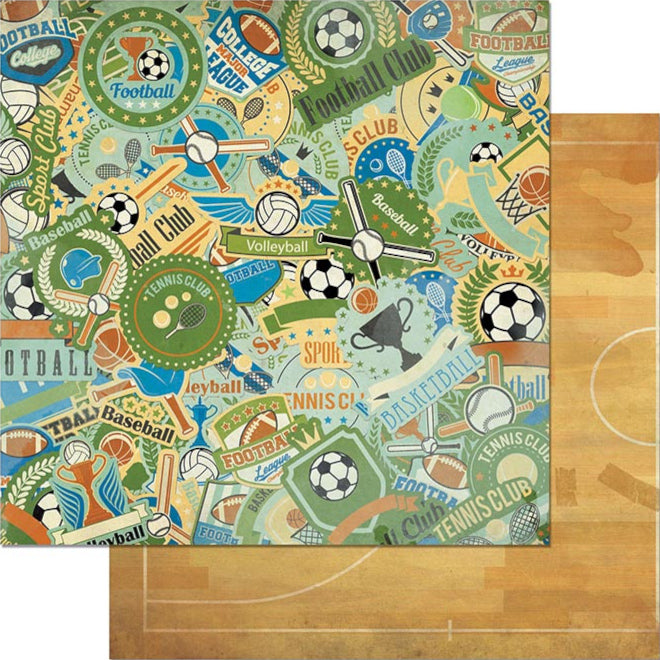 12x12 double-sided patterned paper with sports trophies on one side and the floor of a basketball court on reverse - BoBunny