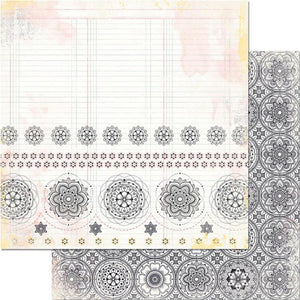 12x12 double-sided patterned paper with detailed, line-drawn floral mosaic patter in black and white - BoBunny