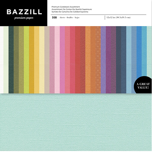 25 Sheet Pack Bazzill Basics T3-358 Card Shoppe Heavy Weight Cardstock 12 x 12 Inches Candy Corn