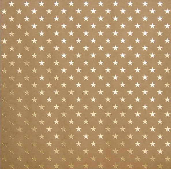 Gold foil stars on 12x12 Kraft cardstock - Bazzill Specialty Paper
