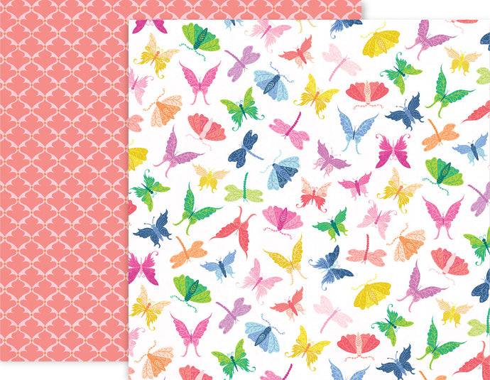 12x12 double-sided patterned paper with colorful butterflies and dragonflies one side and pink quatrefoil design on reverse - Pink Paislee