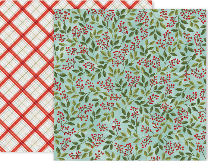 12x12 double-sided paper with Christmas holly berries on front and red, white and green plaid reverse - by Pink Paislee