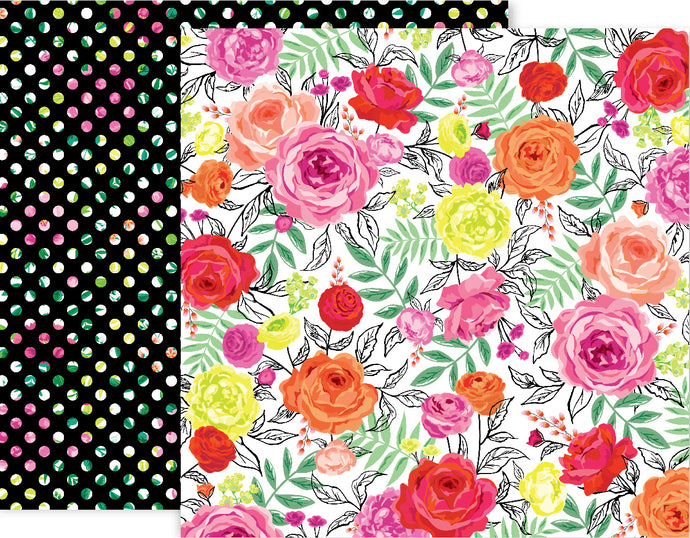 5th and Monaco Paper 3 - 12x12 double-sided patterned paper with colorful roses on one side, floral dots on black reverse - Pink Paislee