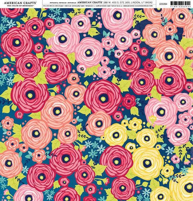 Shimelle Mercury 12x12 Floral Print Cardstock