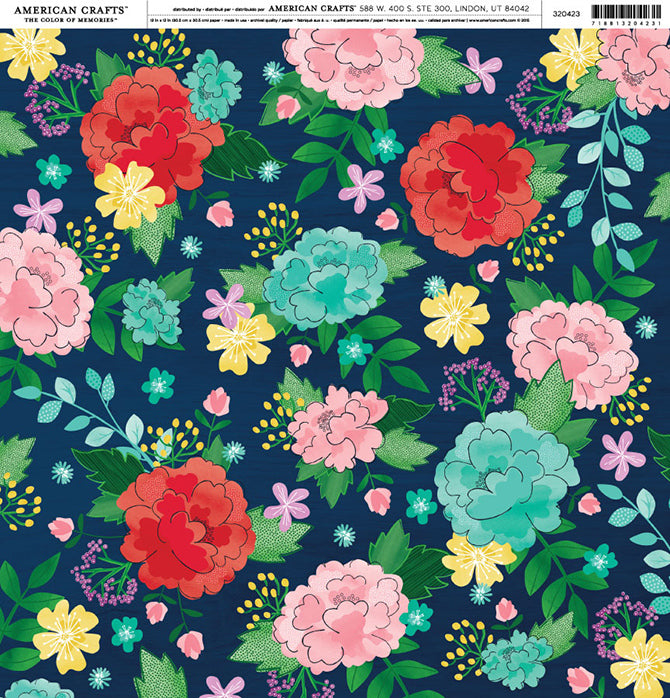 12x12 Floral Patterned Cardstock by Shimelle - Cultivate Joy