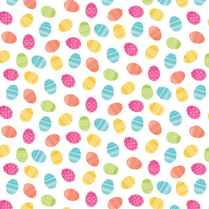 12x12 patterned cardstock with colorful Easter eggs on white background - American Crafts