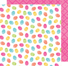 Load image into Gallery viewer, Double-sided 12x12 cardstock with Easter eggs on one side and pink geometric pattern on reverse - American Crafts
