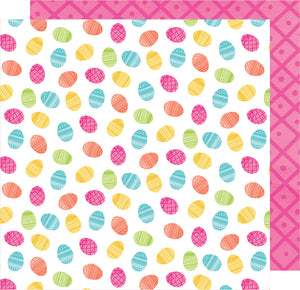 Double-sided 12x12 cardstock with Easter eggs on one side and pink geometric pattern on reverse - American Crafts