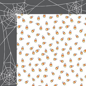 12x12 double-sided Halloween cardstock with candy corns on one side and spiderwebs on the reverse