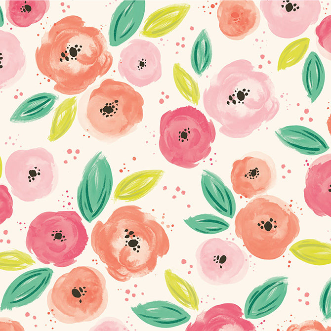 Paige Evans - Fancy Free - Pink Floral - 12x12 Single-Sided Paper