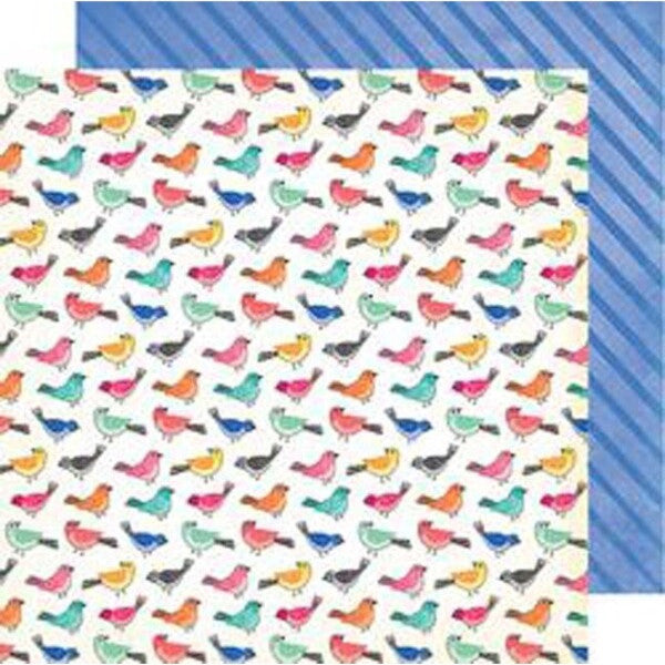 Birds Of A Feather 12x12 double-sided patterned paper has colorful birds on one side and diagonal blue stripes on the reverse - Vicki Boutin