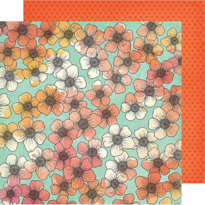 Picked For You - 12x12 double-sided patterned paper with floral design on one side and orange dots on reverse - Vicki Boutin