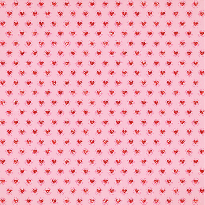 12x12 patterned cardstock with red, glitter hearts on pink background - Crate Paper