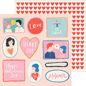 12x12 double-sided patterned cardstock with love messages on one side and rows of red hearts on the reverse - Crate Paper