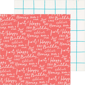 12x12 double-sided patterned paper with birthday wishes on one side and white squares with teal lines on reverse - Crate Paper