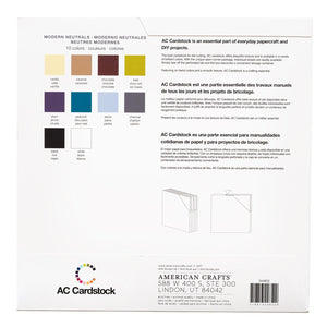 American Crafts MODERN NEUTRALS Cardstock Variety Pack - Styled fan showing 10 colors - 80 lb smooth scrapbook paper