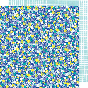 Bell Bottom Blue 12x12 double-sided patterned paper with petite daisy design on one side and white and aqua graph on reverse - Dear Lizzy