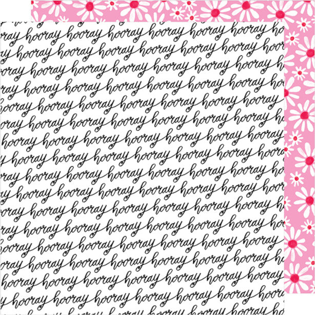 Let's Boogie - 12x12 double-sided patterned paper with the word 'hooray' on one side and white and white daisies on reverse - Dear Lizzy