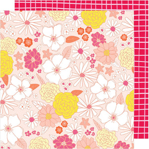 GROOVY 12x12 double-sided patterned cardstock - yellow and pink pastel floral on one side, - hand drawn graph on reverse