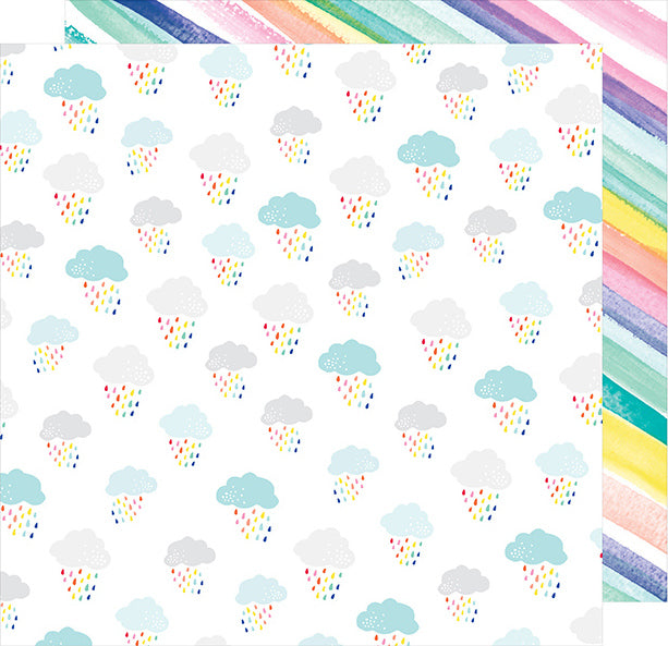 12x12 double-sided patterned paper with water color rainbow stripes and fluffy clouds and colorful raindrops - Dear Lizzy