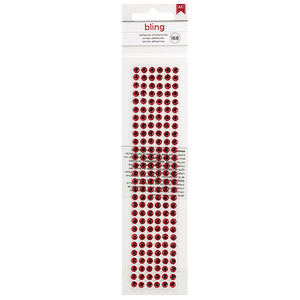 Package of 168 ruby red, self-adhesive rhinestones for embellishing paper craft projects