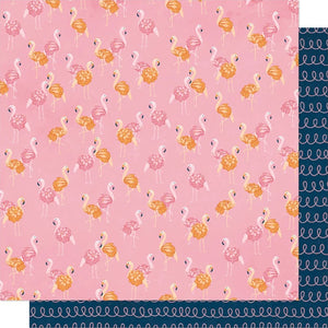 Let's Flamingle - 12x12 double-sided patterned paper with flamingos on pink background and pink doodle lines on dark blue reverse - Dear Lizzy