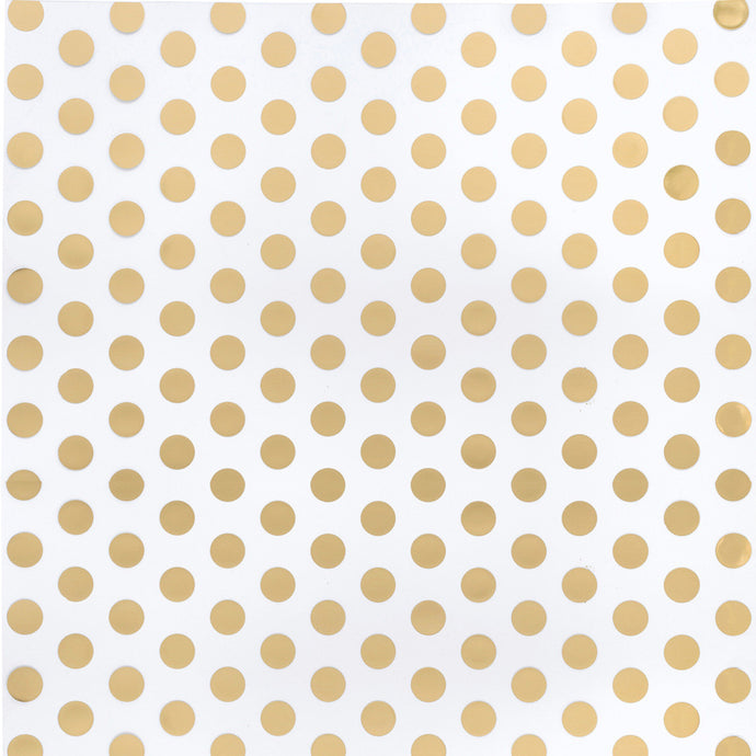 Gold foil polka dots on clear 12x12  acetate sheet from American Crafts