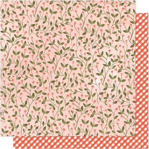 12x12 Floral Paper with Sweet Pea Vines on peach background - by 1Canoe2