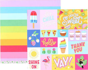 12x12 double-sided, patterned cardstock with fun cards on one side and broad rainbow stripes on reverse - American Crafts