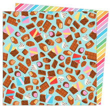 Load image into Gallery viewer, Calories Don't Count - 12x12 double-sided paper with a bunch of chocolate bars on one side and rainbow stripe reverse/