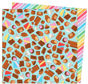 Calories Don't Count - 12x12 double-sided paper with a bunch of chocolate bars on one side and rainbow stripe reverse/