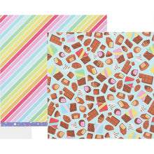 Load image into Gallery viewer, 12x12 double-sided patterned paper with tempting chocolates on one side and diagonal rainbow stripes on reverse - American Crafts