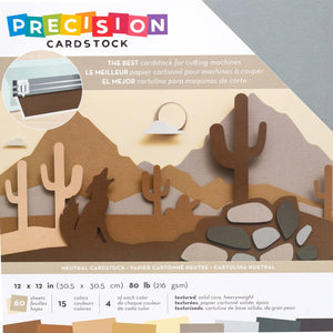 NEUTRAL Precision Cardstock Variety Pack - 60 sheets, 15 coordinated colors - by American Crafts