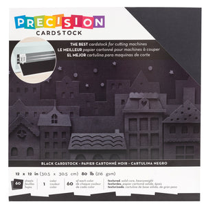 BLACK Precision Cardstock - 60 12x12 Sheets