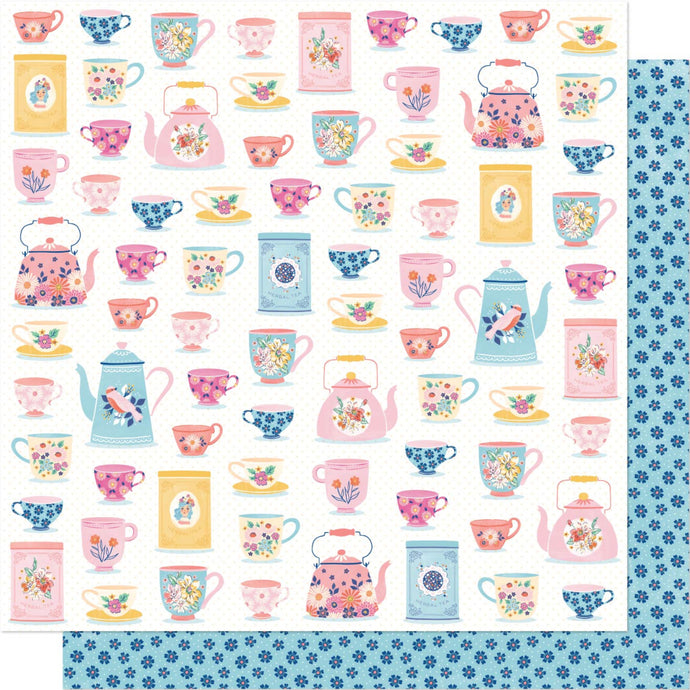 12x12 double-sided patterned paper with teapots on one side and petite blue flowers on reverse - Dear Lizzy