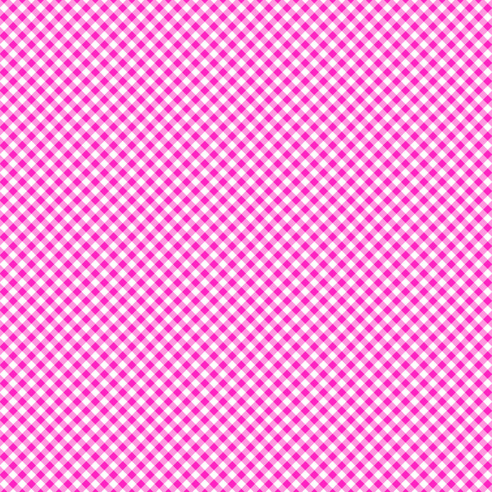 12x12 patterned cardstock with hot pink gingham pattern on white - American Crafts