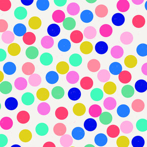 1212 patterned cardstock with bright, multi-colored circles on white background - American Crafts