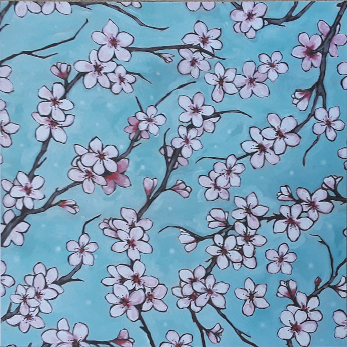 12x12 patterned cardstock with cherry blossom branches and sky blue pastel background