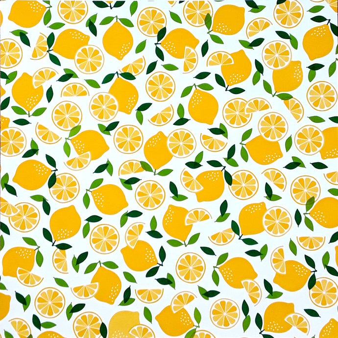 12x12 patterned cardstock with bright yellow lemons on white background