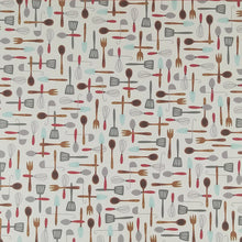 Load image into Gallery viewer, 12X12 patterned paper with Harvest Utensils arrayed on off-white background - American Crafts