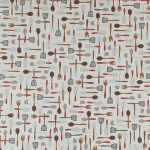 12X12 patterned paper with Harvest Utensils arrayed on off-white background - American Crafts