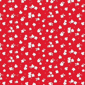 12x12 patterned cardstock with petite white flowers on red background - American Crafts