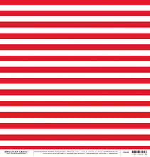 Load image into Gallery viewer, 12x12 patterned cardstock with red stripes on white background - American Crafts