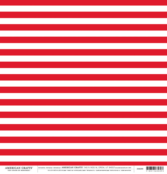12x12 patterned cardstock with red stripes on white background - American Crafts
