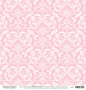 Pink Damask 12x12 Cardstock from American Crafts
