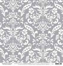 Load image into Gallery viewer, GRAY Damask 12x12 Cardstock from American Crafts