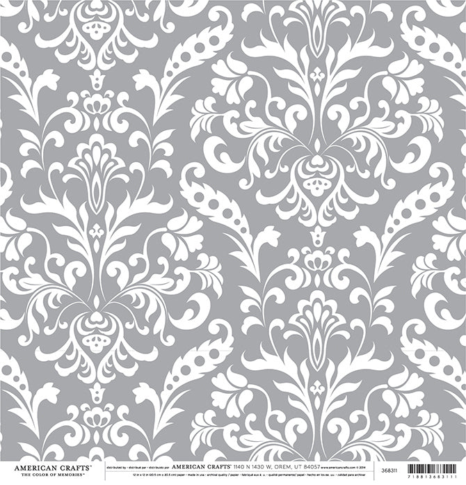 GRAY Damask 12x12 Cardstock from American Crafts