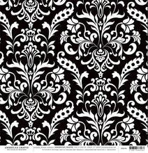 Load image into Gallery viewer, BLACK Damask 12x12 Cardstock from American Crafts