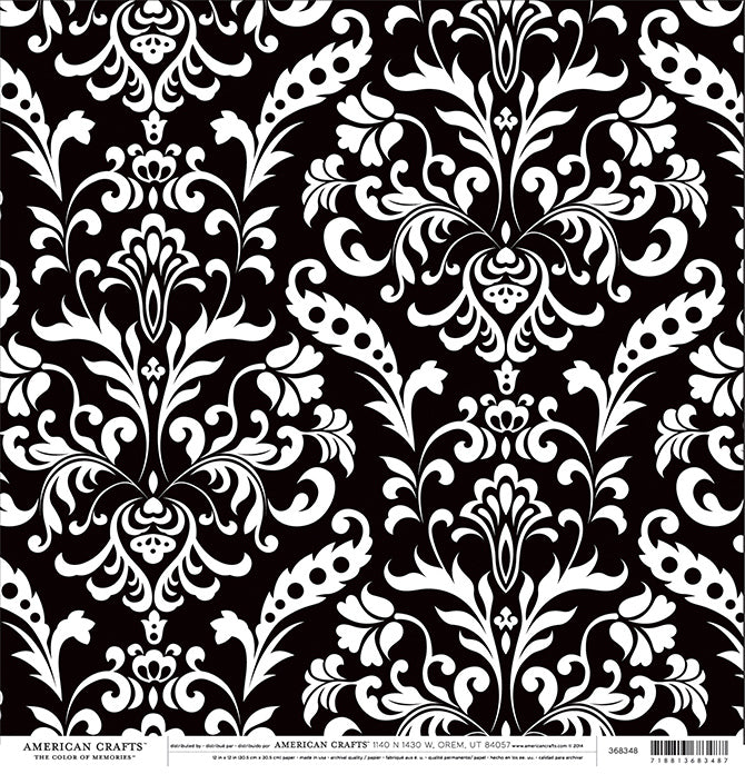 BLACK Damask 12x12 Cardstock from American Crafts