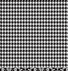 Houndstooth reverse of BLACK Damask 12x12 double-sided paper from American Crafts